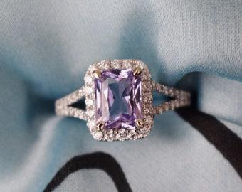 Lavender sapphire ring Engagement ring 14k white gold diamond ring 2.1ct emerald radiant cut lavender blue sapphire ring by Eidelprecious
