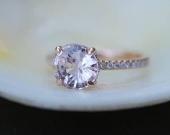 2.47ct White Sapphire round ring. Rose Gold Diamond Ring, Rose Gold Engagement Ring, Diamond Engagement Ring by Eidelprecious