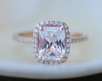 White sapphire engagement ring.  Diamond ring. 2.7ct cushion sapphire 14k rose gold ring by Eidelprecious