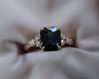 Blue Green sapphire engagement ring. Peacock green sapphire 3.45ct cushion ring 14k Rose gold. Trillium Engagement ring by  Eidelprecious.