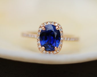 Rose gold sapphire ring. 1.9ct Royal blue sapphire diamond ring 18k rose gold oval engagement ring. Engagement rings by Eidelprecious.