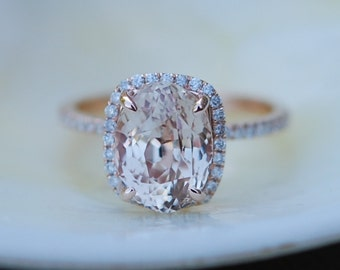 Rose gold engagement ring Peach sapphire ring 4.46ct cushion sapphire 14k rose gold diamond ring by Eidelprecious