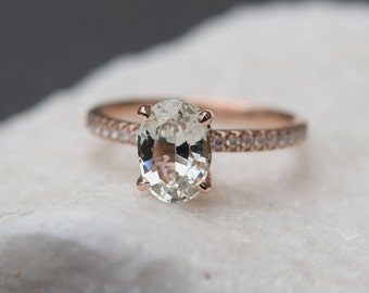 Blake Lively ring Champagne Sapphire Engagement Ring oval cut 14k rose gold diamond ring 1.6ct White sapphire ring by Eidelprecious