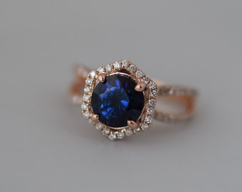 Hexagon Engagement Ring. Royal blue green peacock blue Sapphire Ring. 14k Rose Gold 2ct Round sapphire engagement ring by Eidelprecious