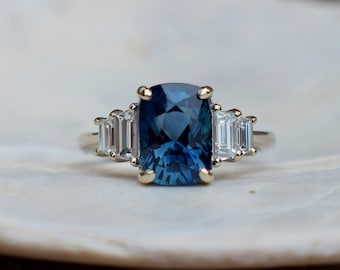 Blue Ice Sapphire Engagement Ring. White gold diamond ring. Cushion cut. Tapered diamond ring Ice collection by Eidelprecious
