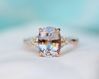 Engagement Ring Rose gold engagement ring. 3.6ct Champagne Sapphire ring Campari ring emerald radiant cut diamond ring by Eidelprecious