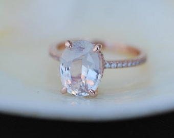 Blake Lively ring Peach Sapphire Engagement Ring oval cut 14k rose gold diamond ring 3.9ct Ice Peach champagne sapphire