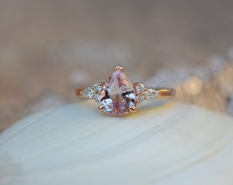 Pear sapphire engagement ring. Rose gold ring. Pear Sapphire 1.63ct peach sapphire diamond ring Campari Engagement ring by Eidelprecious