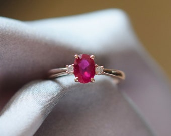 Ruby engagement ring. 3 stone ring. Ruby and diamond rose gold ring by Eidelprecious