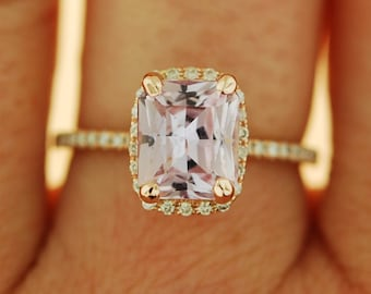 3ct emerald cut Peach sapphire Champagne sapphire ring diamond ring 14k rose gold Engagement ring
