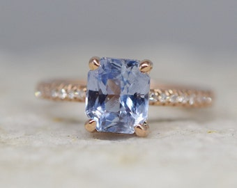 Sky blue sapphire engagement ring. 2.2ct emerald cut blue green sapphire ring diamond ring 14k Rose gold ring Blake design by Eidelprecious.