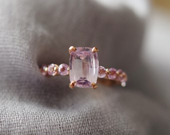 Rose Gold Engagement Ring 2.25ct Peach Pink sapphire engagement ring One of a kind ring Sapphire Cushion cut ring by Eidelprecious