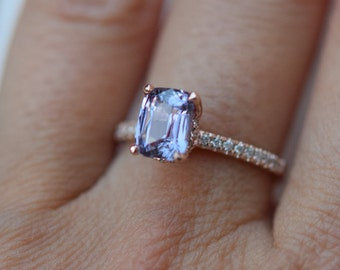 Lavender sapphire ring Engagement ring 14k rose gold diamond ring 1.64ct emerald cut lavender blue sapphire ring Blake ring by Eidelprecious