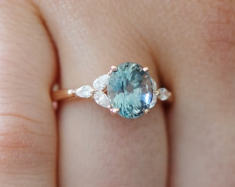 Mint sapphire engagement ring. Green blue sapphire ring 2.5ct oval diamond ring 14k Rose gold. Trillium Engagement ring Eidelprecious.