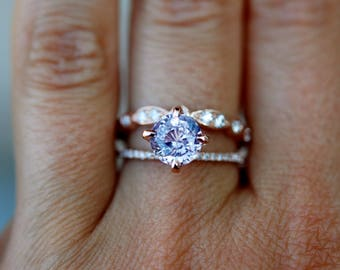 Rose gold engagement ring  2.72ct round lavender sapphire diamond ring. Engagement ring by Eidelprecious