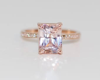 Blake Lively ring Peach Sapphire Engagement Ring emerald cut 14k rose gold diamond ring 4.4ct Peach champagne sapphire engagement ring