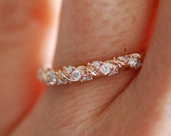 Full Diamond band Twisted diamond wedding band Rose gold band Full Eternity band 14k gold Band Matching Band by Eidelprecious