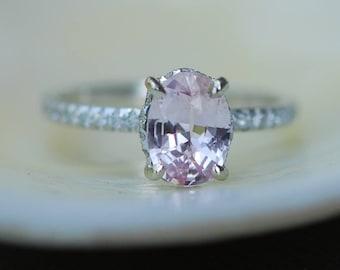 Blake Lively Peach sapphire ring engagement ring 1.36ct oval cut peach sapphire ring 14k white gold diamond ring by Eidelprecious