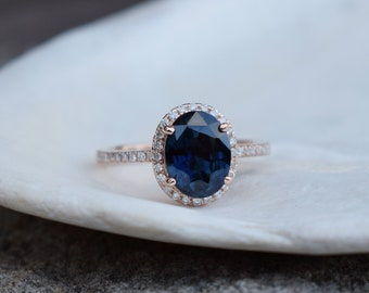 Oval Jet Blue Sapphire Engagement Ring. Rose Gold Engagement Ring 2.37ct blue sapphire ring. Rose gold engagement ring by Eidelprecious.