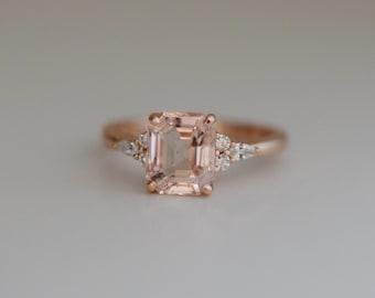 Engagement Ring Rose gold engagement ring Peach Sapphire ring Campari ring emerald cut Rose gold diamond ring 2.7ct