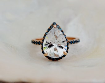 Spring 2020 White sapphire ring Rose gold ring Pear 4.3ct white sapphire diamond ring 14k rose gold. Engagement ring by Eidelprecious