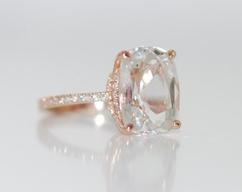 Blake Lively ring GIA certified 6.93ct White Sapphire Engagement Ring cushion cut 18k rose gold diamond ring White champagne sapphire ring