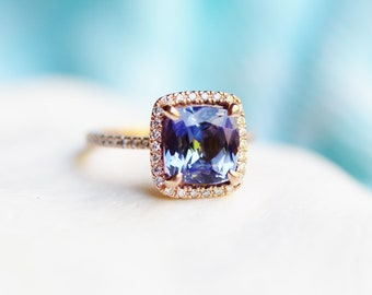 Tanzanite engagement Ring. Rose Gold Engagement Ring Violet Blue Tanzanite cushion cut halo engagement ring 14k rose gold ring