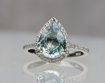 2.16ct Mint blue green pear sapphire diamond ring 14k white gold engagement ring