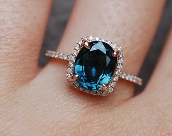 Blue Green sapphire engagement ring. Peacock sapphire cushion halo diamond  ring 14k Rose gold ring by Eidelprecious