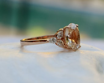 Champagne sapphire ring - Trillium- Sapphire engagement ring. Rose gold engagement ring. Oval Sapphire by Eidelprecious