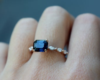 East West Peacock sapphire engagement ring. Godivah ring rose Gold Engagement Ring. One of a kind ring. Sapphire Emerald ring Eidelprecious