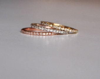 Diamond band Gold Wedding Band Full Eternity Diamond 14K Gold Ring by EidelPrecious