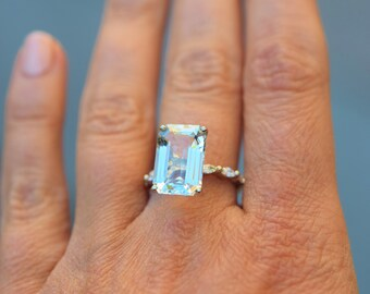 Aquamarine Ring 14k white Gold Ring 5.43ct Seafoam Green Blue emerald cut aquamarine engagement ring Eidelprecious Godivah design