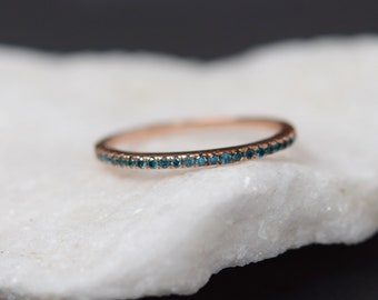 Rose Gold Wedding Band Stackable 14k Rose Gold Diamond Band Half Eternity band Peacock band blue diamonds band Green diamond band