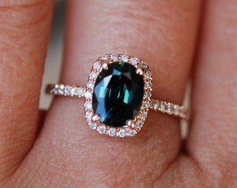 Green sapphire engagement ring. Peacock green sapphire 2.07ct cushion halo diamond  ring 14k Rose gold. Engagenet rings by Eidelprecious.