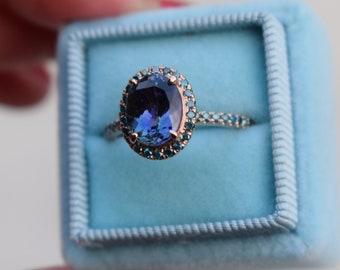 Tanzanite Ring. Rose Gold Engagement Ring 1.8ct Lavender Lilac Tanzanite oval cut engagement ring 14k rose gold.