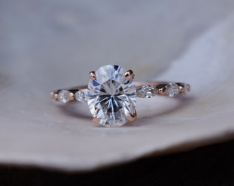 18k upgrade - Godivah Moissanite engagement ring. Oval engagement ring. Rose Gold Engagement Ring. Marquise diamond ring by Eidelprecious