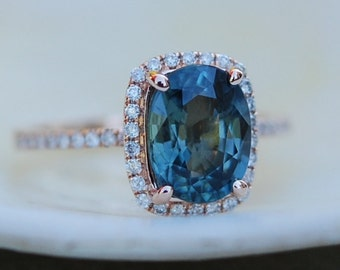 Blue Green sapphire engagement ring. Peacock sapphire 2.5ct cushion halo diamond  ring 14k Rose gold.