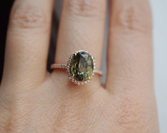 Olive Green sapphire engagement ring. Rose Gold Engagement ring. Green Sapphire ring. 5.3ct cushion sapphire 14k Rose Gold diamond ring.