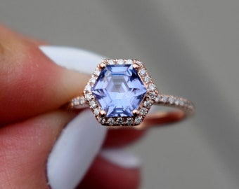 Hexagon Engagement Ring. Periwinkle Blue Violet Sapphire Ring. 14k Rose Gold 1.6ct hexagon sapphire engagement ring by Eidelpresious