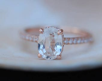 Blake Lively ring White Sapphire Engagement Ring oval cut 14k rose gold diamond ring 3.2ct Peach sapphire ring
