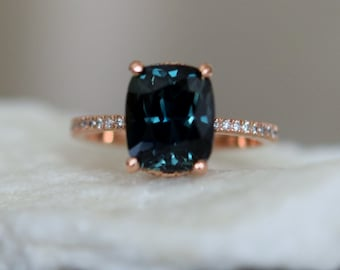 Teal sapphire ring. Peacock blue green sapphire ring 4.04ct cushion sapphire diamond  ring 14k Rose gold. Engagement rings by Eidelprecious.