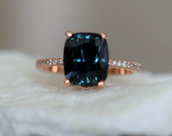 Teal sapphire ring. Peacock blue green sapphire ring 3.8ct cushion sapphire diamond  ring 14k Rose gold. Engagement rings by Eidelprecious.