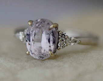 Lavender peach sapphire ring Engagement ring 14k white gold diamond ring 2.6ct oval pink lavender sapphire ring Campari by Eidelprecious