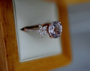 Rose gold engagement ring. Lavender sapphire diamond ring. Fiji design. 14k rose gold round sapphire ring. Engagement ring by Eidelprecious