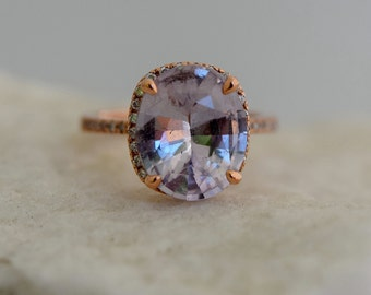 Moonlight Sapphire Engagement Ring 3.9ct Color change sapphire ring. Rose gold engagement ring Sapphire ring Eidelprecious Signature ring