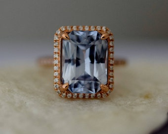 GIA certified 6.47ct sapphire ring Rose Gold Engagement Ring Blue sapphire engagement ring Sapphire Emerald cut ring by Eidelprecious