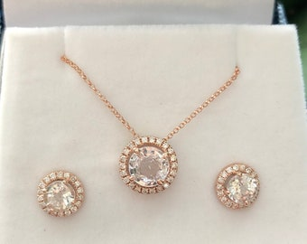 Stud earrings and pendant set. Rose gold earrings. White sapphire diamond earrings. 14k rose gold earrings by Eidelprecious.