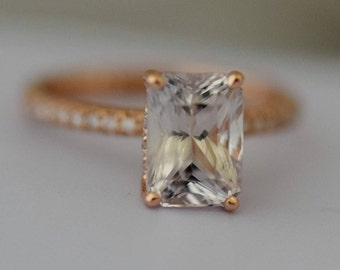 White Sapphire Engagement Ring Emerald cut white sapphire ring 14k rose gold diamond ring 2.86ct sapphire ring Blake design by Eidelprecious