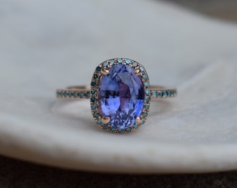 Fall/Winter Mood Color Palette Sapphire ring. Rose gold engagement Mauve Lavender sapphire 14k rose gold ring.